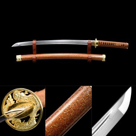 Handmade Pattern Steel Real Japanese Wakizashi Sword With Milti-colored Scabbard And Dragon Tsuba