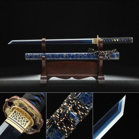 Handmade High Manganese Steel Dragon Tsuba Theme Real Japanese Ninjato Ninja Sword With Blue Scabbar