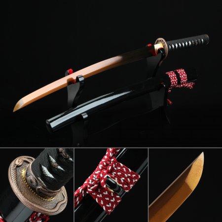 Handmade Spring Steel Gold Balde Real Japanese Wakizashi Sword With Black Scabbard And Snake Tsuba