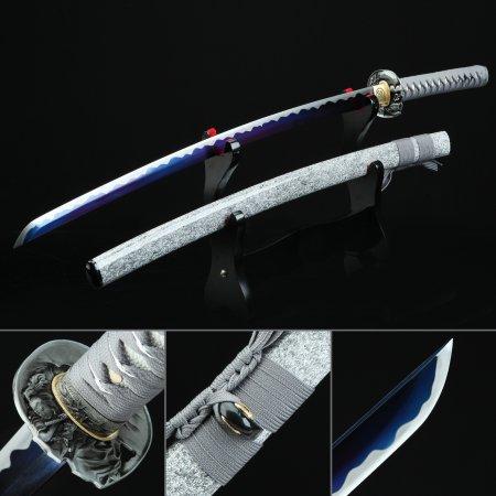 Handmade Spring Steel Blue Blade Sharpening Real Japanese Katana Samurai Sword With Gray Scabbard