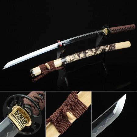 Handmade High Manganese Steel Hand Sharpening Japanese Katana Samurai Swords With Natural Scabbard