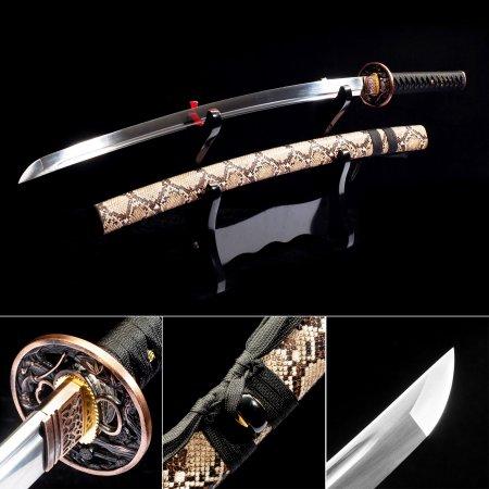 Handmade High Manganese Steel Japanese Katana Samurai Sword With Brown Snake Scabbard And Iron Tsuba