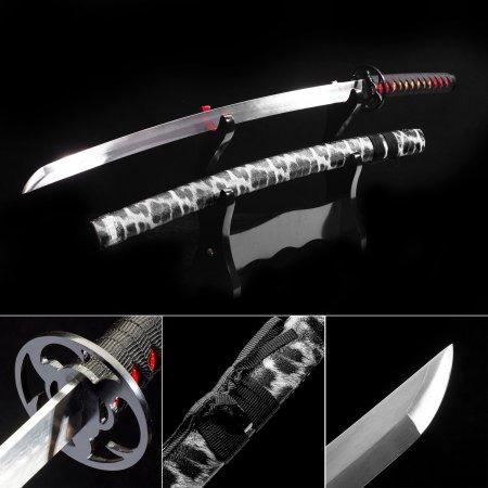 Handmade 1060 Carbon Steel Japanese Katana Samurai Swords With Black Leather Scabbard And Iron Tsuba