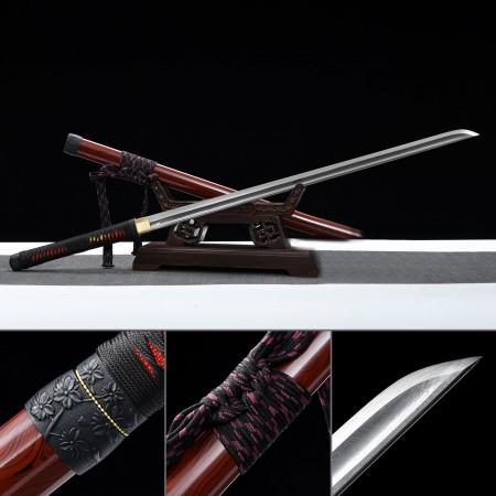 Handmade High Performance Folded Steel Full Tang Real Ninjato Ninja No Guard Sword With Metal Saya