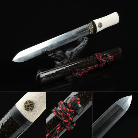 High-performance Pattern Steel Double Edge Blade Short Katana Japanese Aikuchi Pocket Tanto Knife