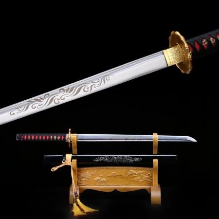 Straight Black Katana, Handmade Carbon Steel Real Japanese Samurai Ninja Swords