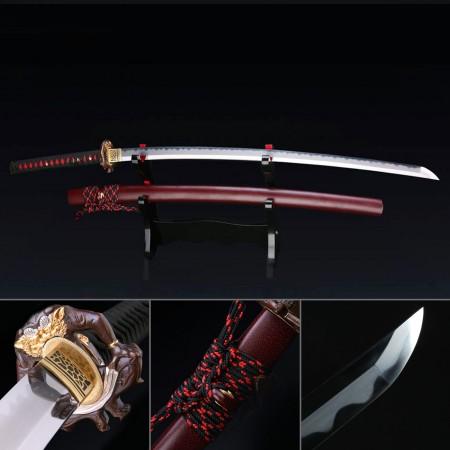 Real T10 Handmade Tiger Totem Tsuba Katana Japanese Samurai Sword