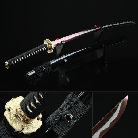 Handmade High Manganese Steel Red Blade Authentic Japanese Katana Samurai Sword With Black Scabbard