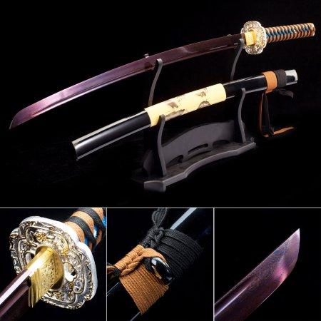 Handmade Pattern Steel Purple Blade Sharpening Japanese Katana Samurai Swords With Black Scabbard