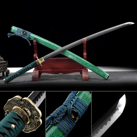 Battle Ready Katana, Authentic Japanese Sword T10 Folded Clay Tempered Steel Sturdy Tactical Swords