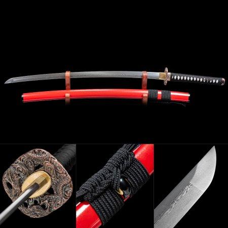 Handmade Pattern Steel Real Japanese Samurai Katana Sword With Red Scabbard And Dragon Tsuba