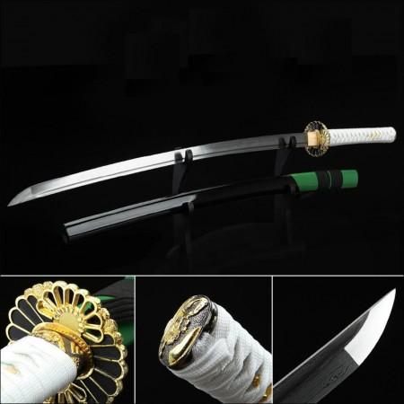Handmade Gold Sunflower Tsuba Real Katana Japanese Samurai Swords With Green Scabbard