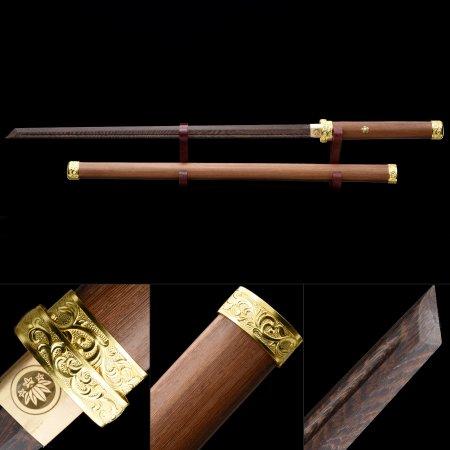 Handmade Wooden Blade Unsharpened Japanese Ninjato Ninja Swords With Brown Scabbard