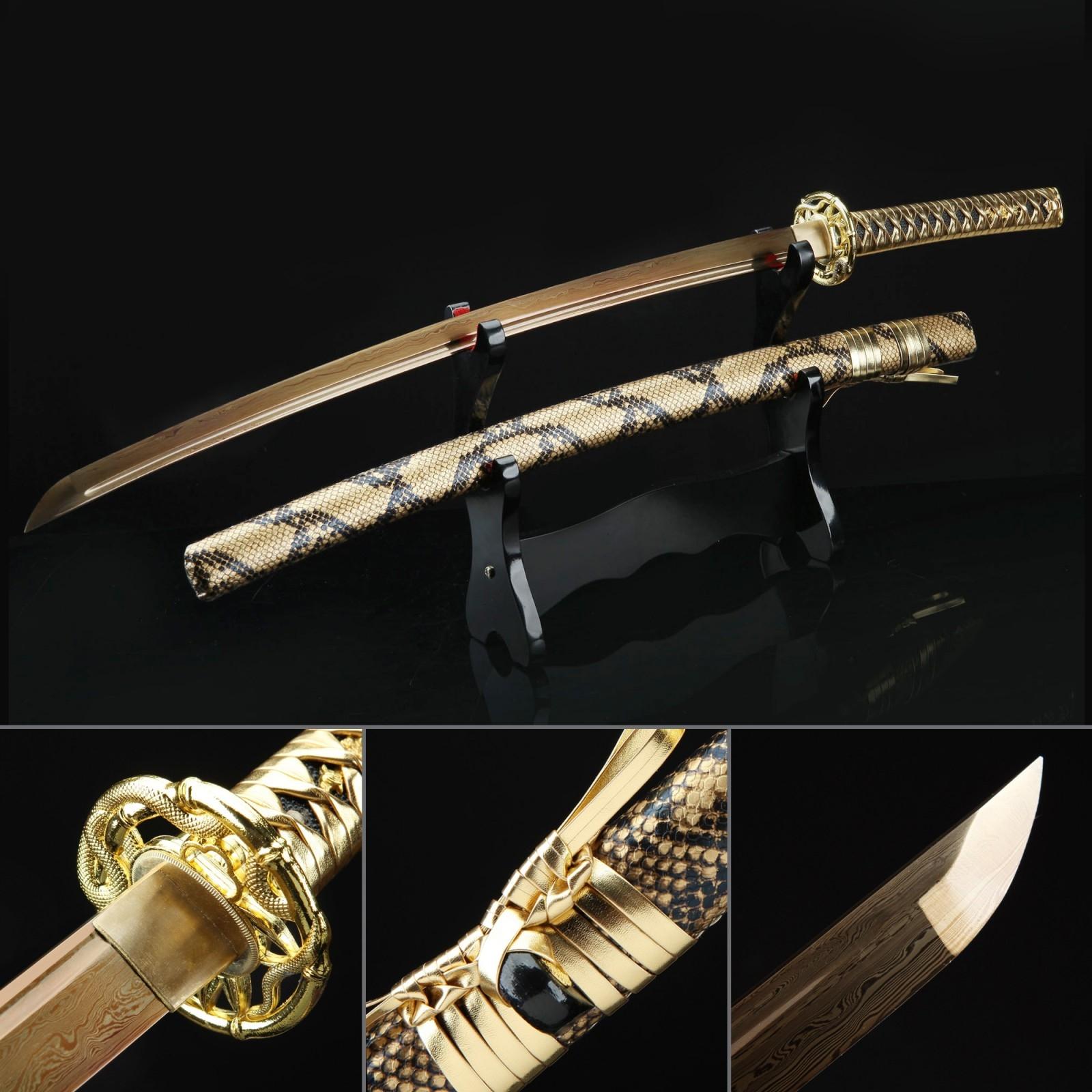 Handmade Gold Snake Style Golden Blade Cool Katana Real Japanese Samurai Swords