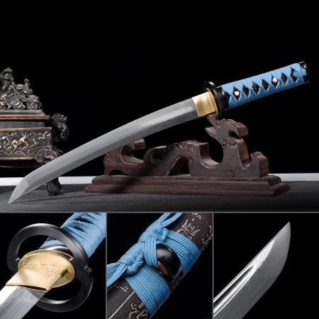 Handmade Pattern Steel Real Japanese Tanto Sword With Black Scabbard