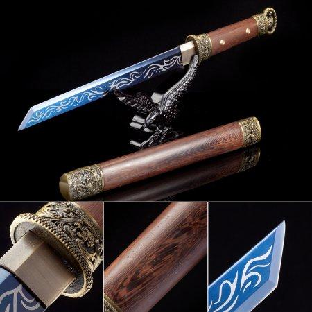 Handmade High Manganese Steel Blue Blade Real Japanese Hamidashi Tanto Sword With Natural Scabbard