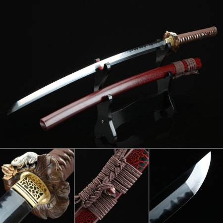 Handmade Gold Plated Lotus Flower Tsuba T10 Carbon Steel Japanese Samurai Sword
