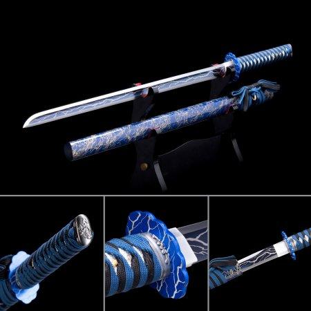 High Manganese Steel Blue Straight Blade Chokuto Japanese Ninjato Ninja Swords With Blue Scabbard