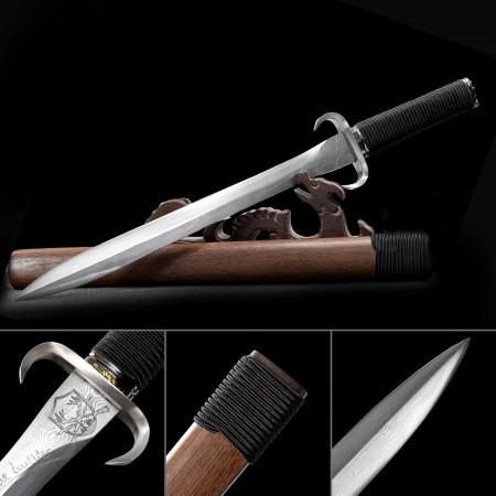 Handmade Pattern Steel Horns Tsuba Japanese Samurai Hamidashi Tanto Sword With Brown Scabbard