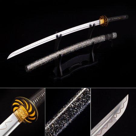 Handmade High Manganese Steel Wave Theme Blade Japanese Katana Samurai Swords With Black Scabbard