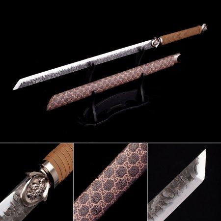High Manganese Steel Straight Blade Japanese No Guard Ninjato Ninja Swords With Brown Scabbard