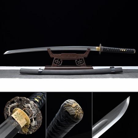 Handmade Pattern Steel Real Japanese Katana Samurai Swords With Gray Scabbard