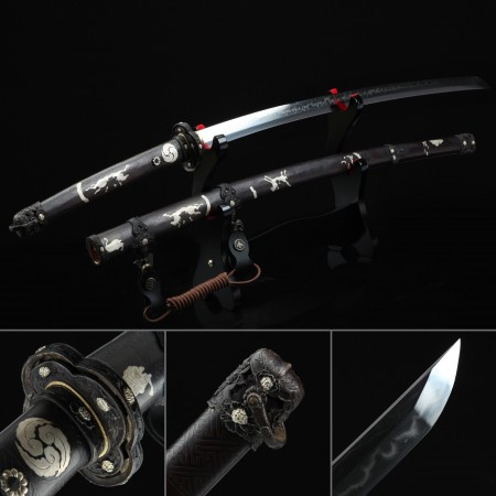 Battle Ready Sword, Authentic Japanese Katana Pattern Steel Hand Forge Sharpened Tactical Swords