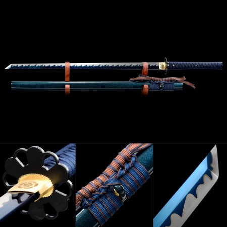 Handmade High Manganese Steel Blue Blade Real Japanese Ninjato Ninja Swords With Blue Scabbard