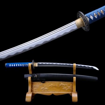 Short Katana, Handmade Wakizashi Sword 1065 Carbon Steel With Black Scabbard