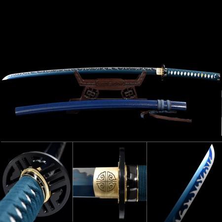Blue Sword, Handmade Japanese Samurai Sword High Manganese Steel With Blue Blade And Scabbard