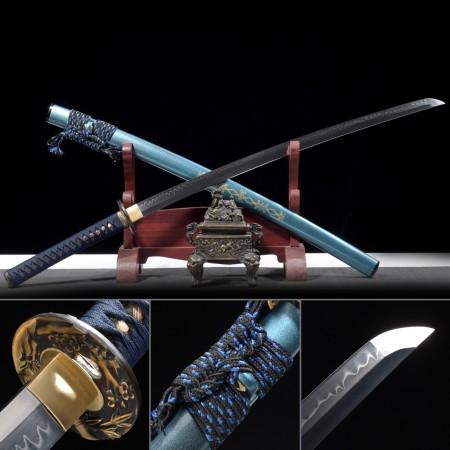 Battle Ready Sword, Real Hamon Katana Sword T10 Folded Clay Tempered Steel With Blue Scabbard