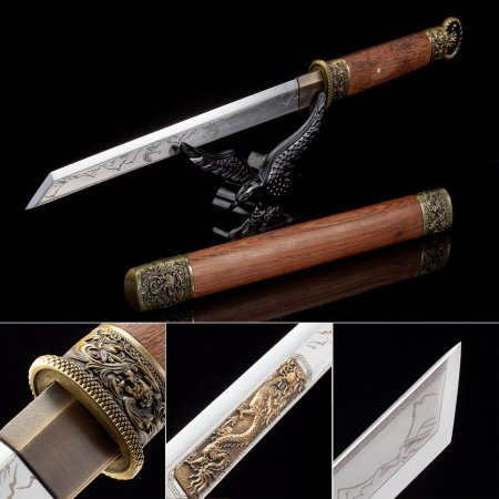 Handmade High Manganese Steel Sharpening Japanese Hamidashi Tanto Sword With Natrual Scabbard