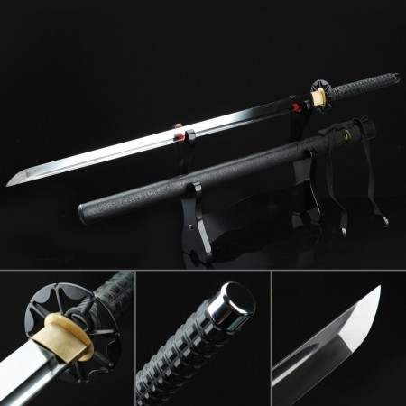 Black Samurai Theme Handmade Carbon Steel Ninjato Ninja Swords Straight Katana