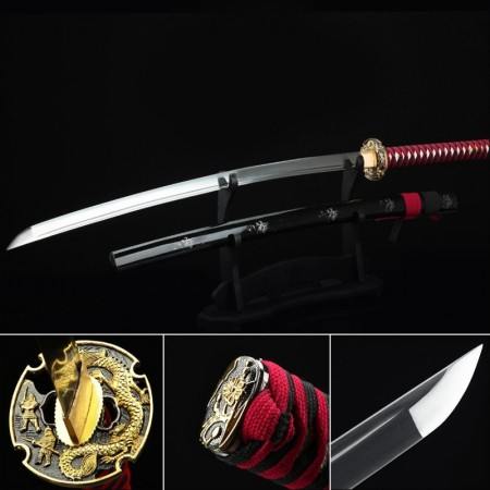 Extra Long Japanese Katana, Handmade Japanese Samurai Swords With Black Scabbard