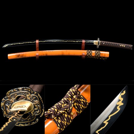 Handmade Japanese Samurai Sword High Manganese Steel With Orange Scabbard