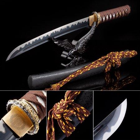 Handmade High Manganese Steel Black Blade Japanese Tanto Sword With Black Scabbard