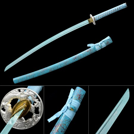 Teal Katana, Handmade Japanese Sword 1045 Carbon Steel With Teal Blade And Scabbard