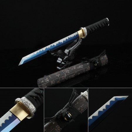 Handmade Chinese Character Theme Full Tang Blue Blade Real Straight Tanto Swords