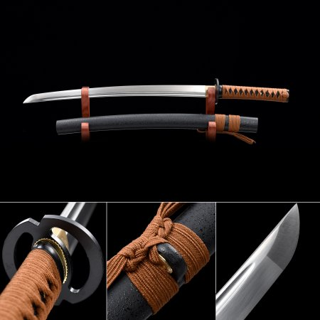 Handmade High Manganese Steel Real Japanese Wakizashi Sword With Black Scabbard And Round Tsuba