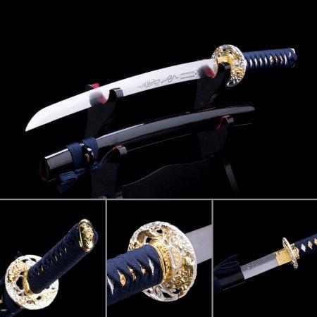 Handmade Stainless Steel Real Japanese Wakizashi Swords With Black Scabbard