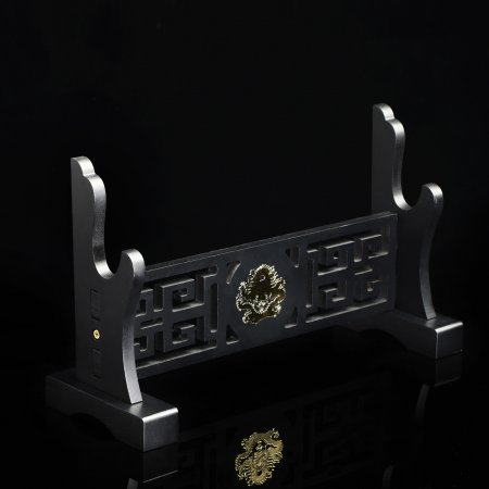 Single Sword Table Stand Holder Display One-layer Rack Base Black Lacquered Wood