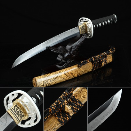 Handmade T10 Carbon Steel Real Hamon Japanese Tanto Sword With Brown Scabbard