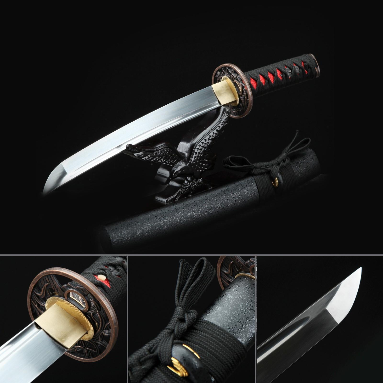 Orchid Tsuba Theme Handmade Full Tang Carbon Steeel Tanto Sword Short Katana