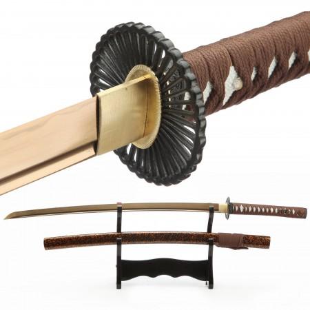 Full Tang Gold Printed Blade Real Japanese Katana Samurai Swords
