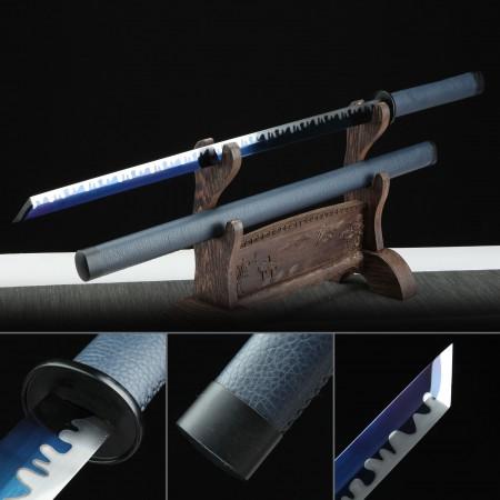 Handmade Blue Theme 1095 Steel Leather Saya Real Japanese Ninjato Ninja Swords