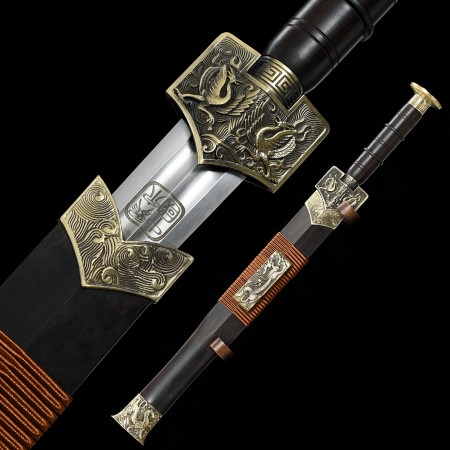 Handmade Spring Steel Real Chinese Han Dynasty Sword With Ebony Scabbard
