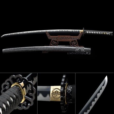 Handmade Japanese Samurai Sword High Manganese Steel With Black Blade