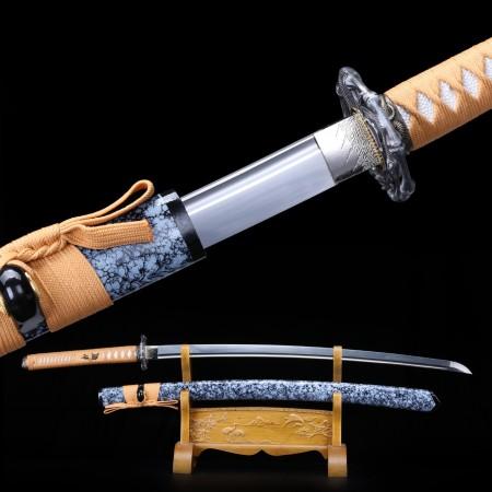 Full Tang Sword, Handmade Japanese Samurai 1095 Spring Steel With Granite Scabbard