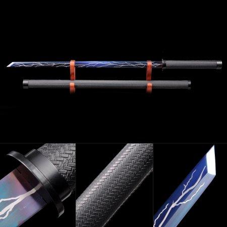 Handmade High Manganese Steel Blue Blade And  Lightning Theme Real Japanese Ninjato Ninja Swords
