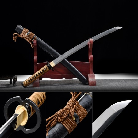 Handmade High Manganese Steel Full Tang Real Japanese Wakizashi Sword With Black Scabbard